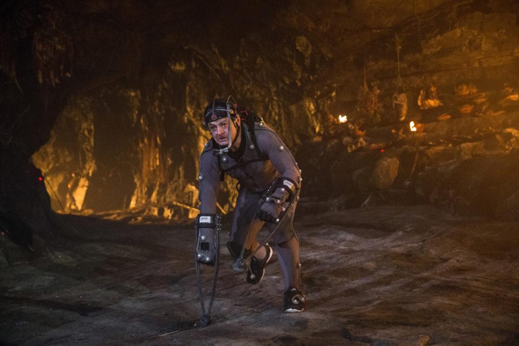 Andy Serkis en pleine captation sur le dernier Planète des Singes.